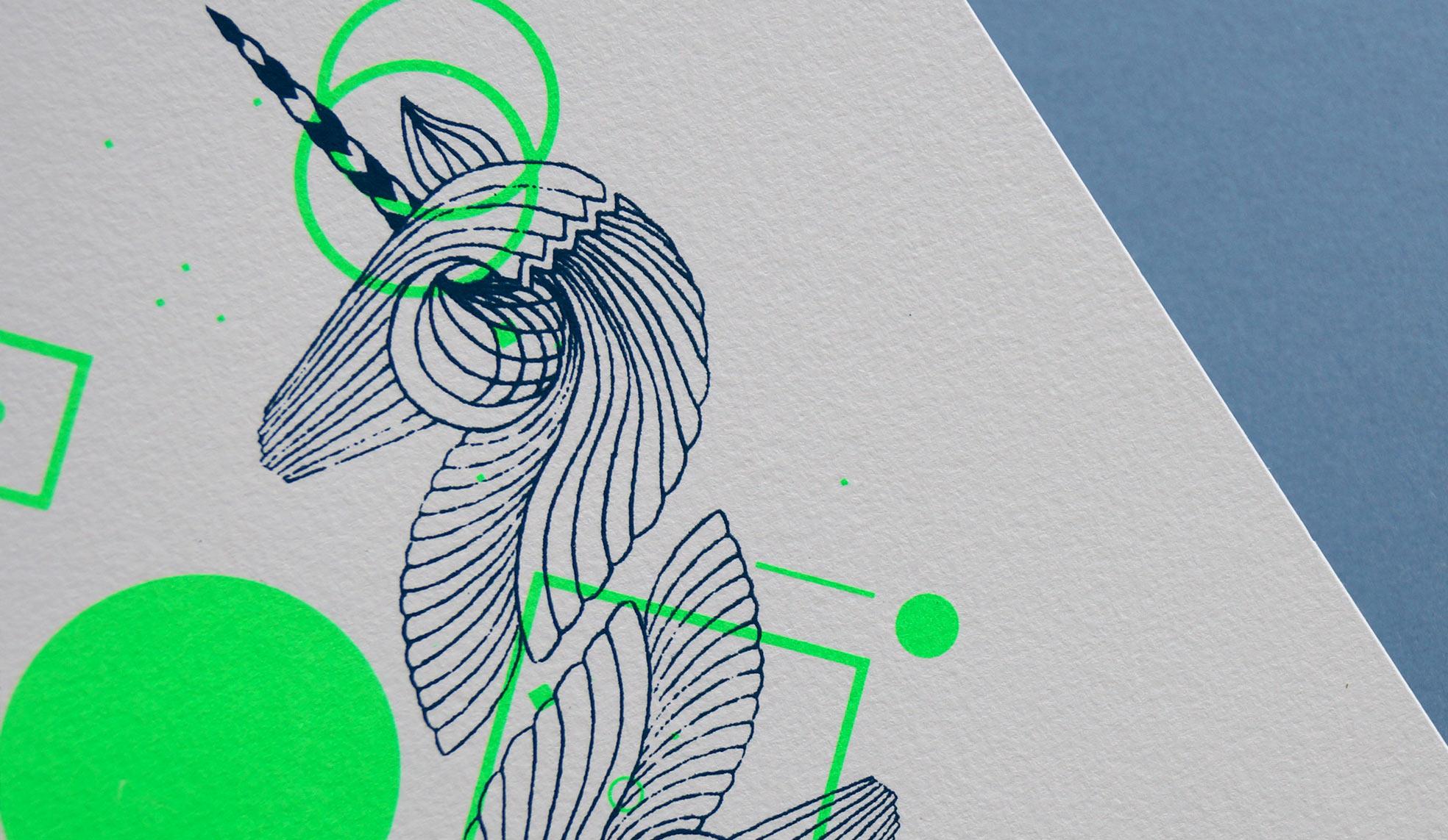 Illustration sérigraphie Licorne